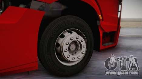 Mercedes-Benz Actros Mp4 6x4 v2.0 Bigspace v2 para GTA San Andreas vista hacia atrás