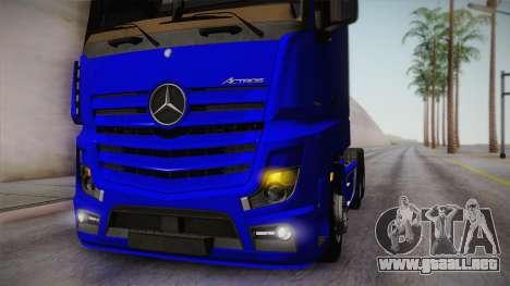 Mercedes-Benz Actros Mp4 6x4 v2.0 Gigaspace para GTA San Andreas vista hacia atrás