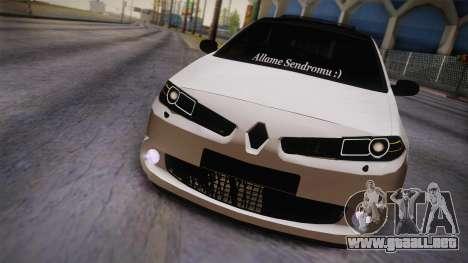 Renault Megan para GTA San Andreas vista posterior izquierda