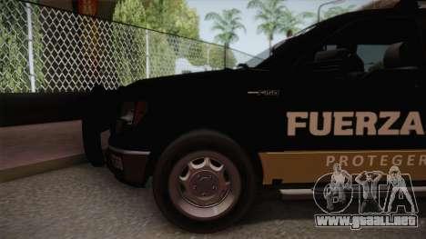 Ford F-150 de la Fuerza Civil de Nuevo Leon para GTA San Andreas vista posterior izquierda