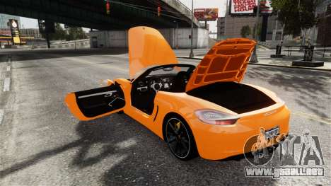 Porsche Boxster GTS 2014 para GTA 4 vista lateral