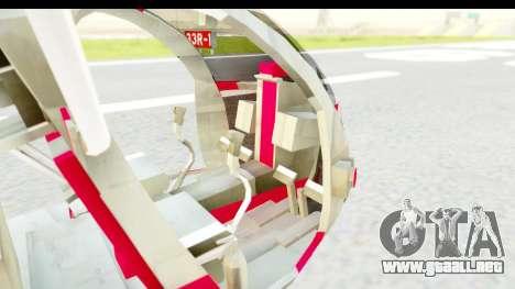 Smaga Sparrow Helis Military Version para GTA San Andreas vista hacia atrás