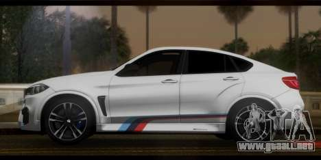BMW X6M F86 M Performance para GTA San Andreas vista posterior izquierda