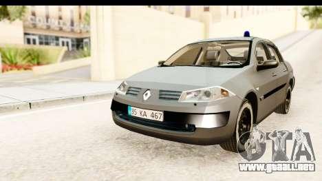 Renault Megane 2 Sedan Unmarked Police Car para GTA San Andreas vista posterior izquierda