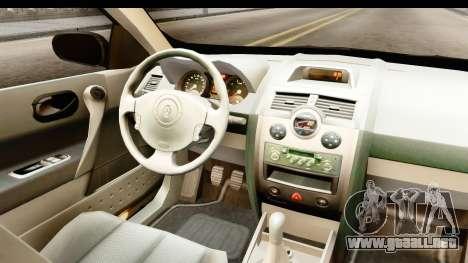 Renault Megane 2 Sedan Unmarked Police Car para visión interna GTA San Andreas