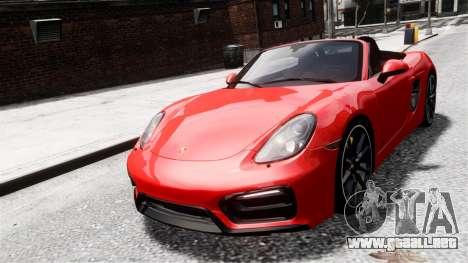 Porsche Boxster GTS 2014 para GTA 4 Vista posterior izquierda