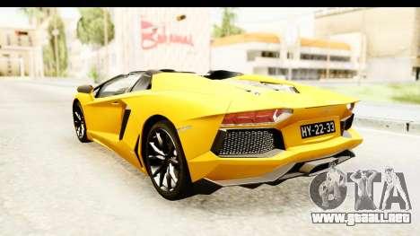 Lamborghini Aventador LP700-4 Roadster v2 para GTA San Andreas vista posterior izquierda