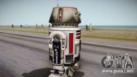 R5-D4 Droid from Battlefront para GTA San Andreas vista posterior izquierda