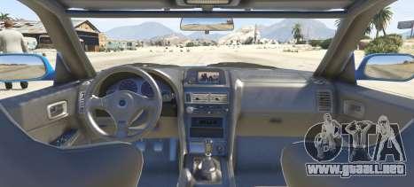 GTA 5 Nissan Skyline GT-R V-Spec R34 vista lateral izquierda trasera