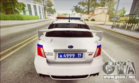 Subaru Impreza WRX STI Police para GTA San Andreas vista posterior izquierda
