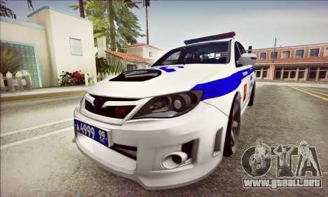 Subaru Impreza WRX STI Police para GTA San Andreas left