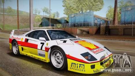 Ferrari F40 (US-Spec) 1989 IVF para vista inferior GTA San Andreas