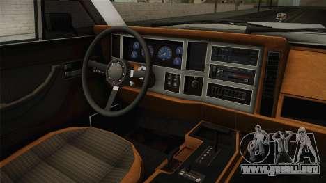 Jeep Grand Wagoneer Limite 1986 para visión interna GTA San Andreas