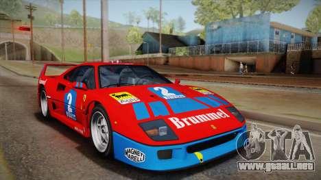 Ferrari F40 (EU-Spec) 1989 HQLM para GTA San Andreas vista hacia atrás