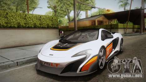 McLaren 675LT 2015 5-Spoke Wheels para vista inferior GTA San Andreas