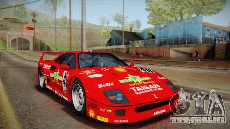 Ferrari F40 (EU-Spec) 1989 HQLM para vista lateral GTA San Andreas