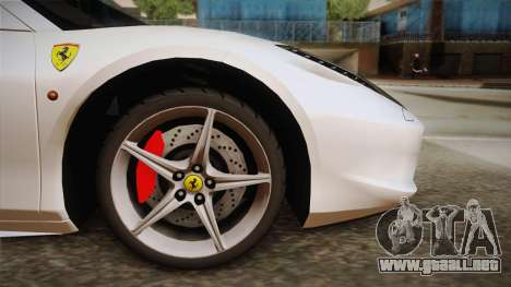 Ferrari 458 Spider para GTA San Andreas vista posterior izquierda