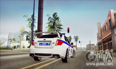 Subaru Impreza WRX STI Police para vista lateral GTA San Andreas