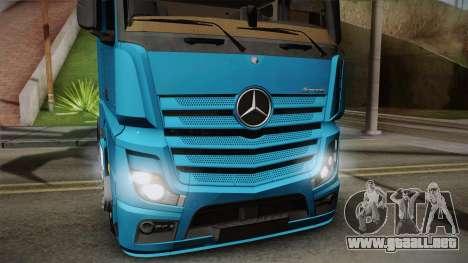 Mercedes-Benz Actros Mp4 6x2 v2.0 Gigaspace para GTA San Andreas vista posterior izquierda