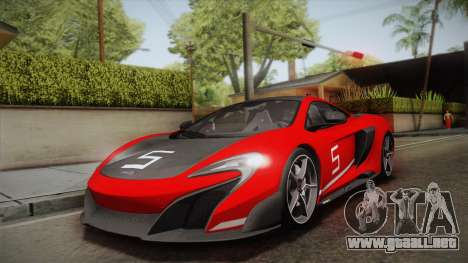 McLaren 675LT 2015 5-Spoke Wheels para la vista superior GTA San Andreas