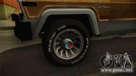 Jeep Grand Wagoneer Limite 1986 para GTA San Andreas vista hacia atrás