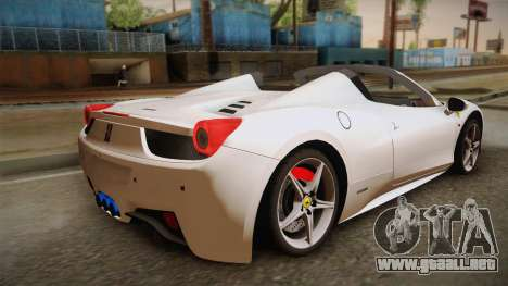 Ferrari 458 Spider para GTA San Andreas left