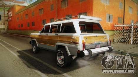 Jeep Grand Wagoneer Limite 1986 para GTA San Andreas vista posterior izquierda