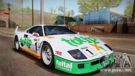 Ferrari F40 (US-Spec) 1989 IVF para vista lateral GTA San Andreas