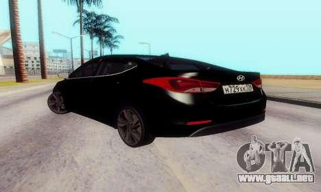 Hyundai Elantra 2015 para GTA San Andreas vista posterior izquierda