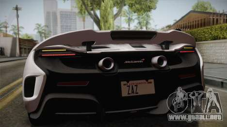McLaren 675LT 2015 5-Spoke Wheels para GTA San Andreas vista hacia atrás