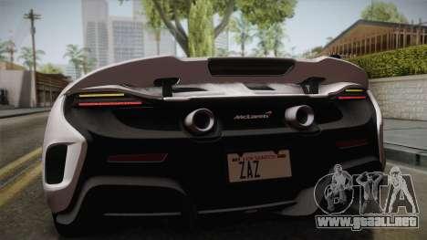McLaren 675LT 2015 5-Spoke Wheels para GTA San Andreas vista hacia atrás