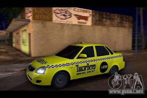 Lada Priora Taxi-El Viento para GTA San Andreas vista posterior izquierda