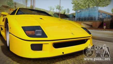 Ferrari F40 (EU-Spec) 1989 IVF para GTA San Andreas vista posterior izquierda