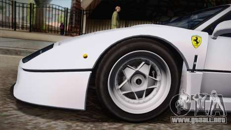Ferrari F40 (EU-Spec) 1989 HQLM para GTA San Andreas vista posterior izquierda