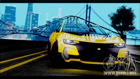 Chevrolet Camaro SS 2016 Bumblebee TF 5 para GTA San Andreas vista posterior izquierda