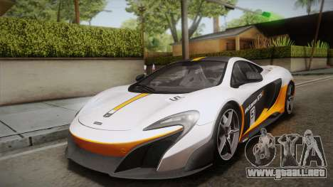 McLaren 675LT 2015 5-Spoke Wheels para vista lateral GTA San Andreas