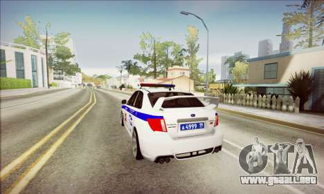 Subaru Impreza WRX STI Police para GTA San Andreas vista hacia atrás