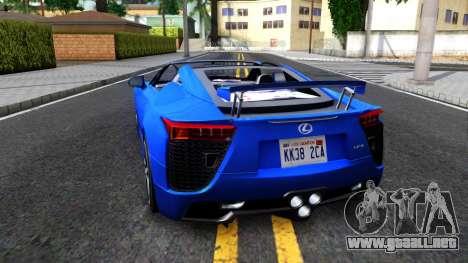 Lexus LFA para GTA San Andreas vista posterior izquierda