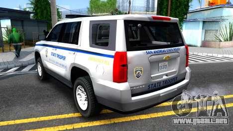 2015 Chevy Tahoe San Andreas State Trooper para la visión correcta GTA San Andreas