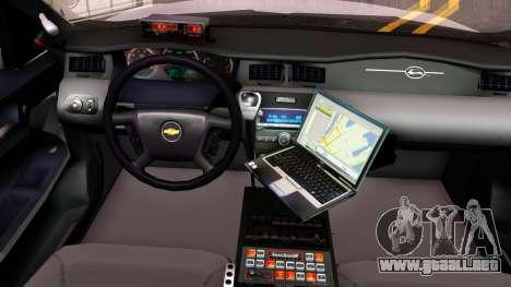 Chevy Impala Blueberry PD 2009 para visión interna GTA San Andreas