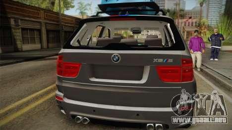 BMW X5M 2012 Special para GTA San Andreas vista hacia atrás