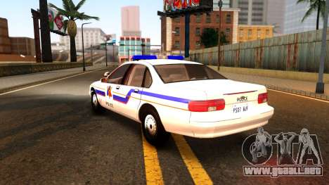 Chevy Caprice Hometown Police 1996 para GTA San Andreas vista posterior izquierda