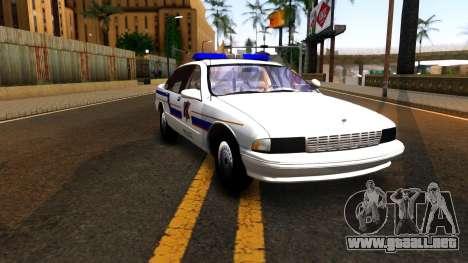 Chevy Caprice Hometown Police 1996 para GTA San Andreas vista hacia atrás