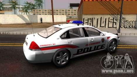 Chevy Impala Blueberry PD 2009 para GTA San Andreas left