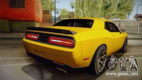 Dodge Challenger Hellcat 2015 para GTA San Andreas left