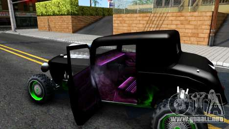 Green Flame Hotknife Race Car para visión interna GTA San Andreas