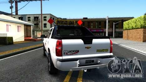 2007 Chevy Avalanche - Pilot Car para GTA San Andreas vista posterior izquierda