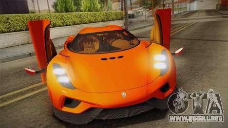 Koenigsegg Regera 2016 Bonus para la visión correcta GTA San Andreas