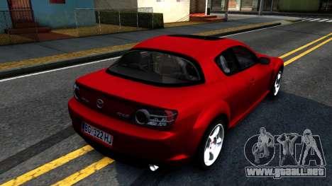 Mazda RX-8 para GTA San Andreas vista posterior izquierda