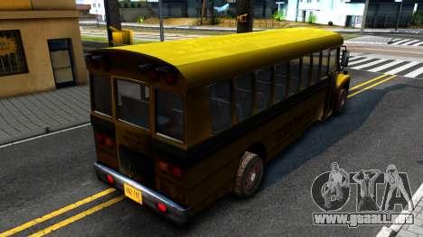School Bus Driver Parallel Lines para GTA San Andreas vista posterior izquierda